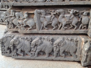 """Elephant and horse carved """"boarders"""" that band the temple structure."""